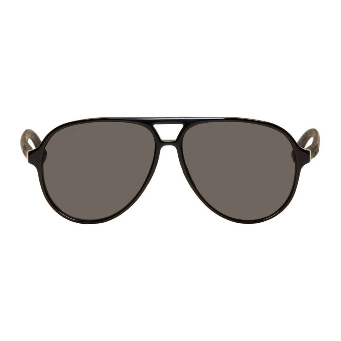 Photo: Gucci Black Classic Pilot Sunglasses