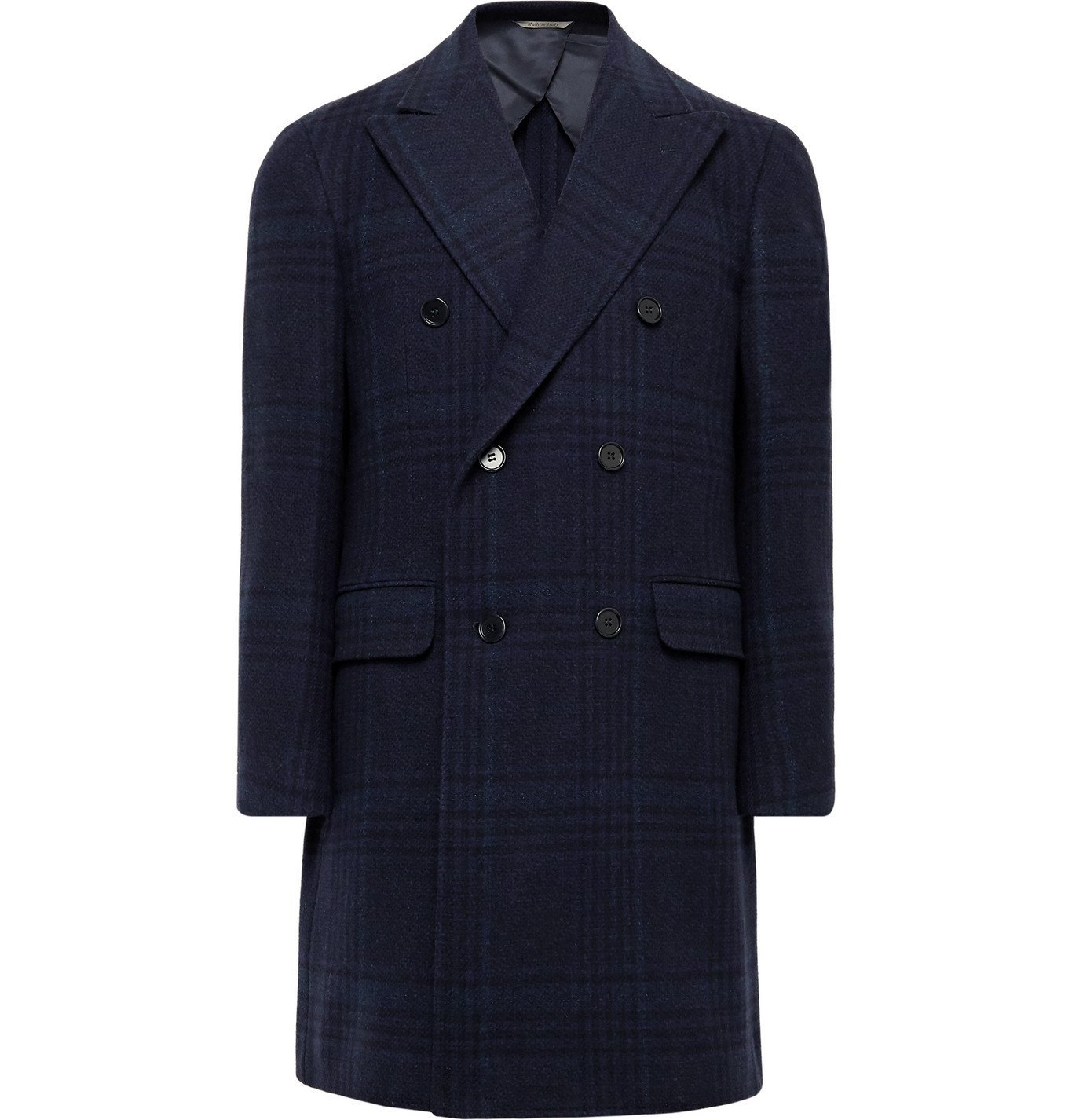 Photo: Canali - Double-Breasted Checked Wool and Cashmere-Blend Overcoat - Blue