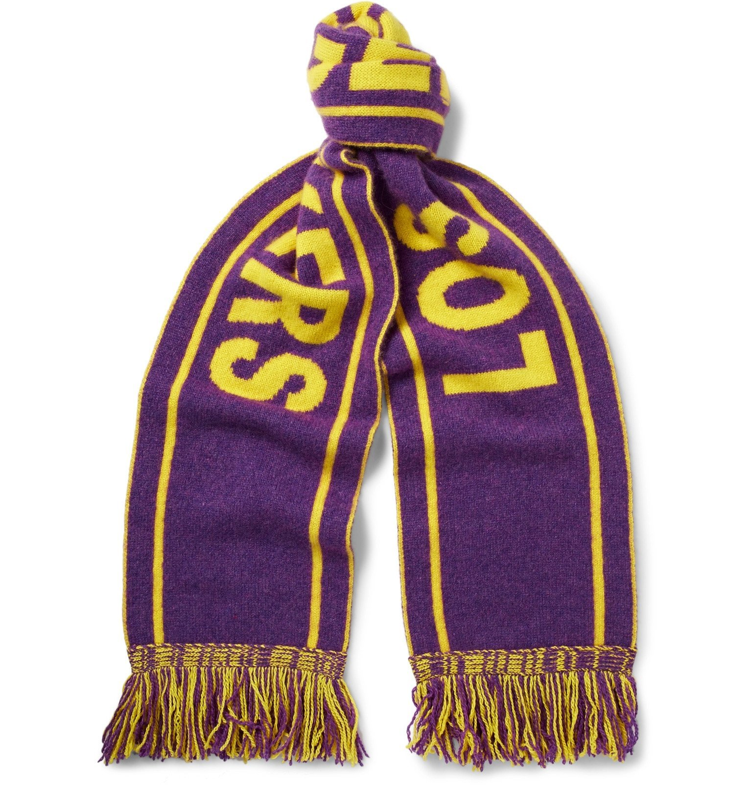 Photo: The Elder Statesman - NBA Los Angeles Lakers Fringed Intarsia Cashmere Scarf - Purple