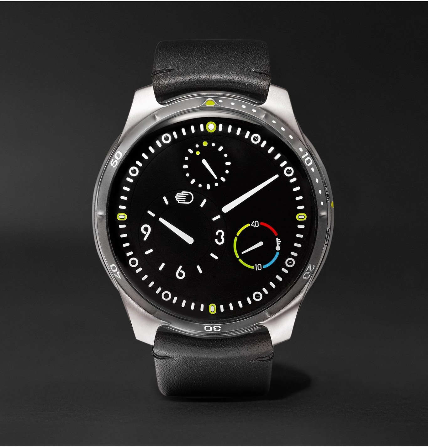 Photo: Ressence - Type 5 Mechanical 46mm Titanium and Leather Watch, Ref. No. TYPE 5B - Black