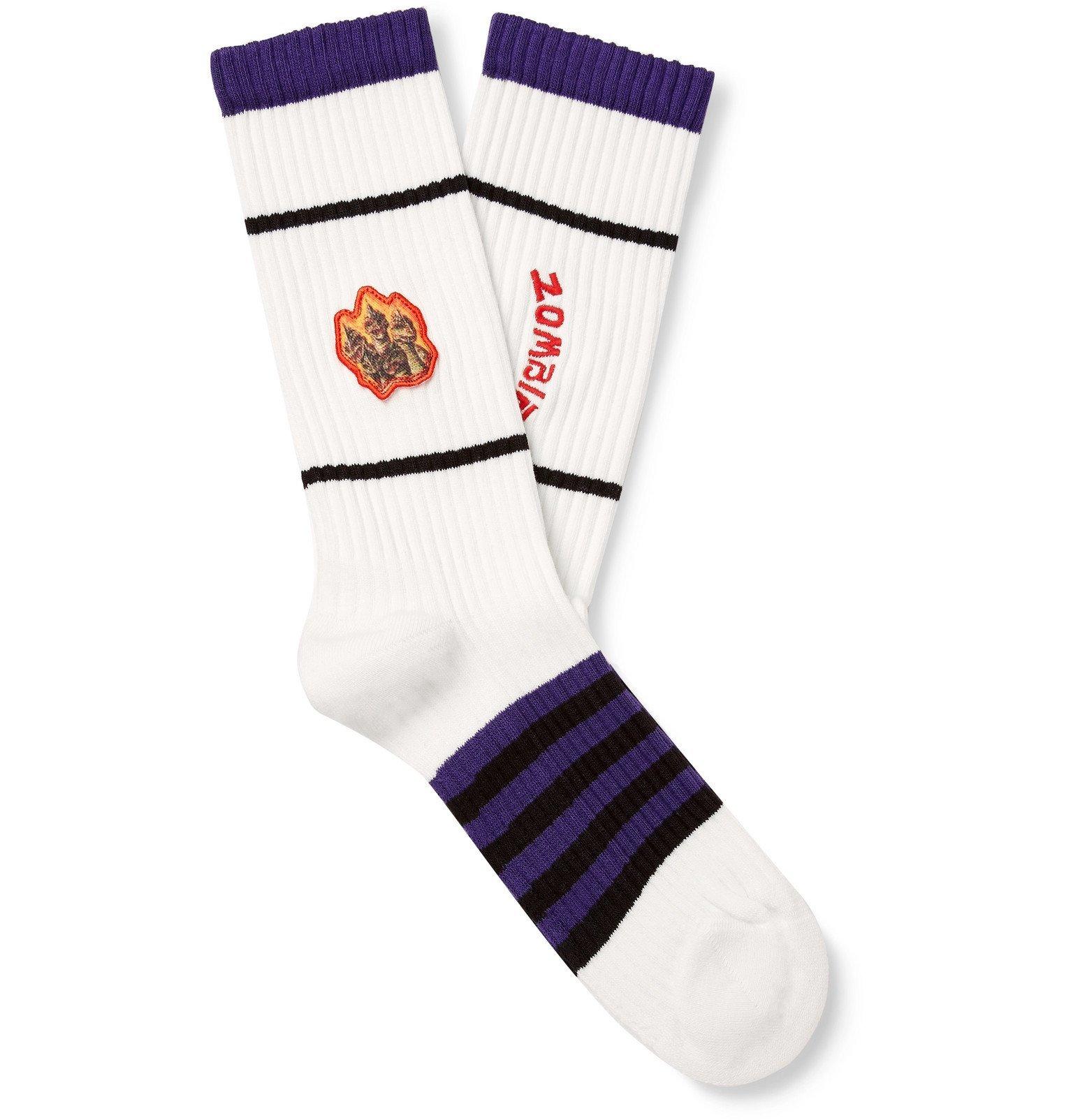 Photo: Acne Studios - Monster in My Pocket Appliquéd Striped Stretch Cotton-Blend Socks - White