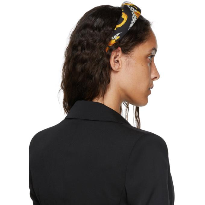 Versace White and Yellow Silk Barocco Headband