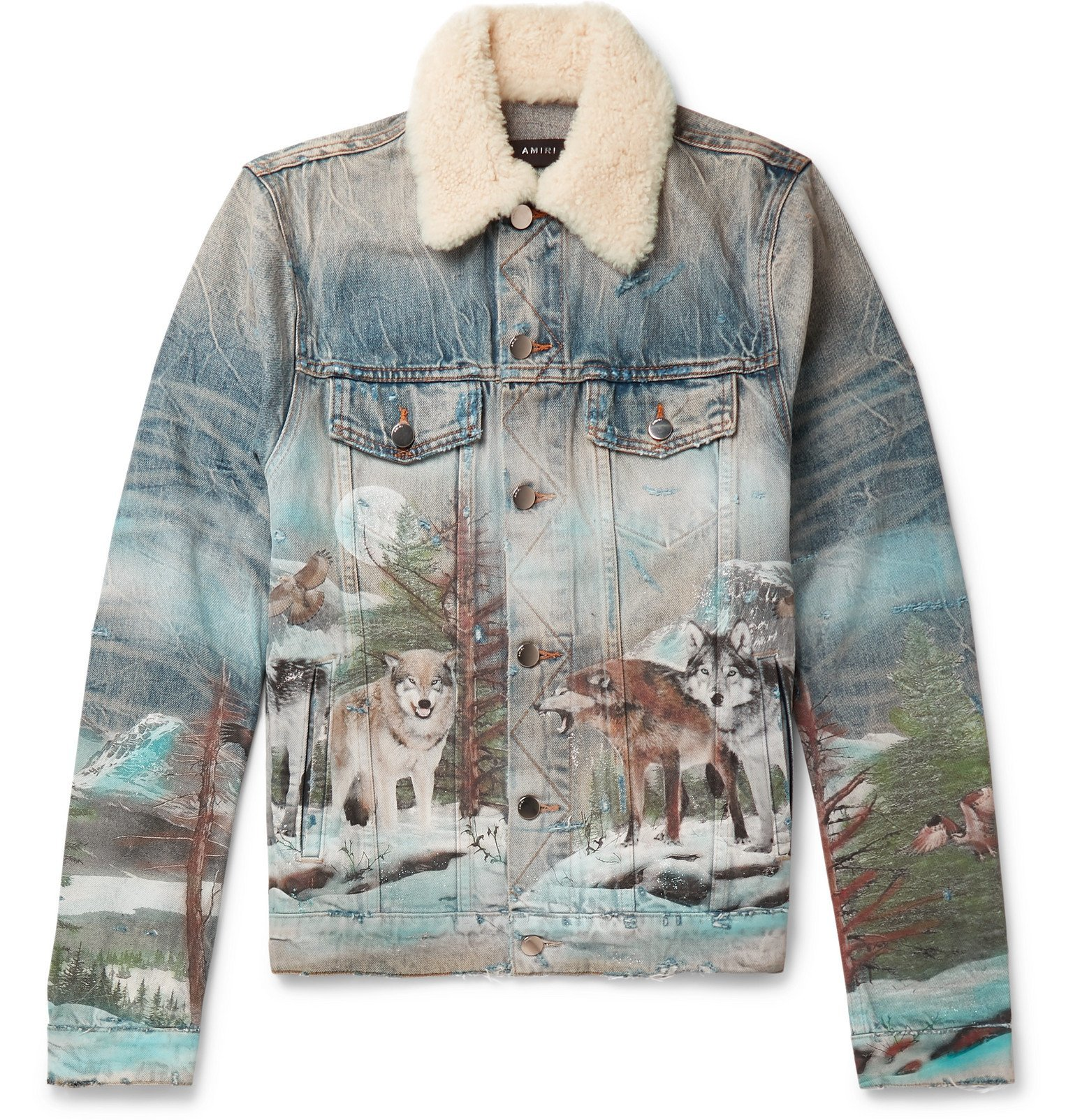 Photo: AMIRI - Shearling-Trimmed Distressed Printed Denim Trucker Jacket - Blue