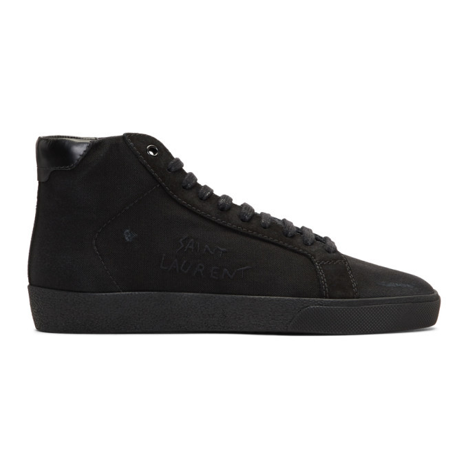 Photo: Saint Laurent Black SL/06 Signature Logo High-Top Sneakers