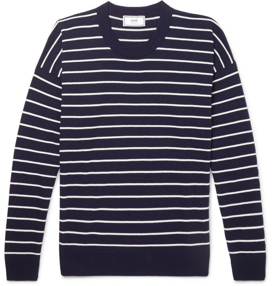 Photo: AMI - Oversized Striped Cotton Sweater - Men - Navy