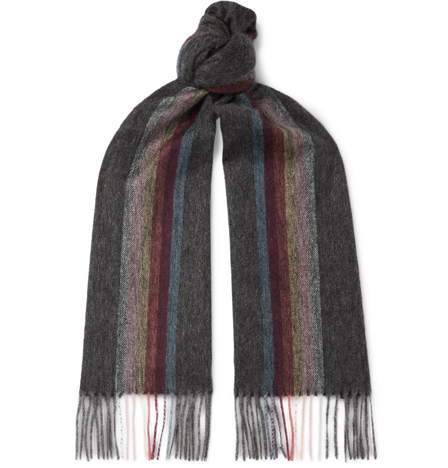 Photo: Paul Smith - Fringed Striped Mélange Cashmere Scarf - Gray