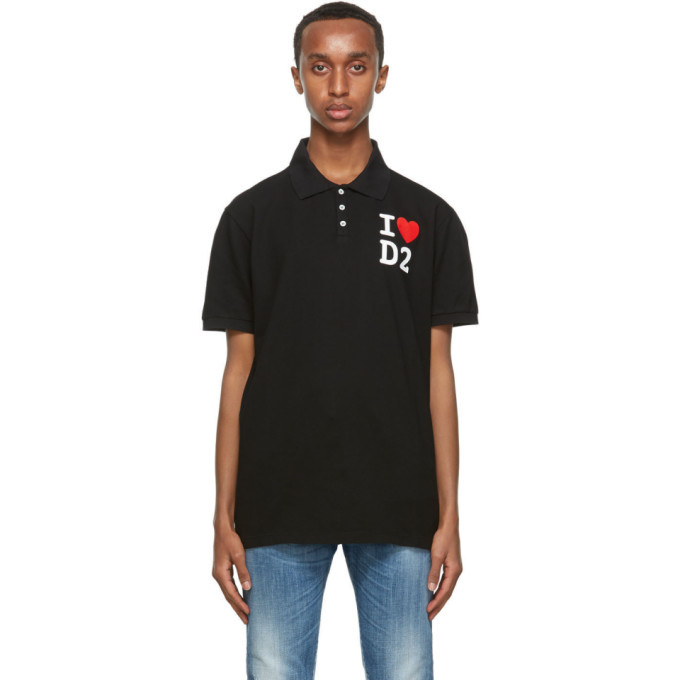 Photo: Dsquared2 Black Tennis Fit Polo