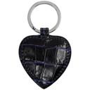 Smythson Navy Mara Heart Keychain