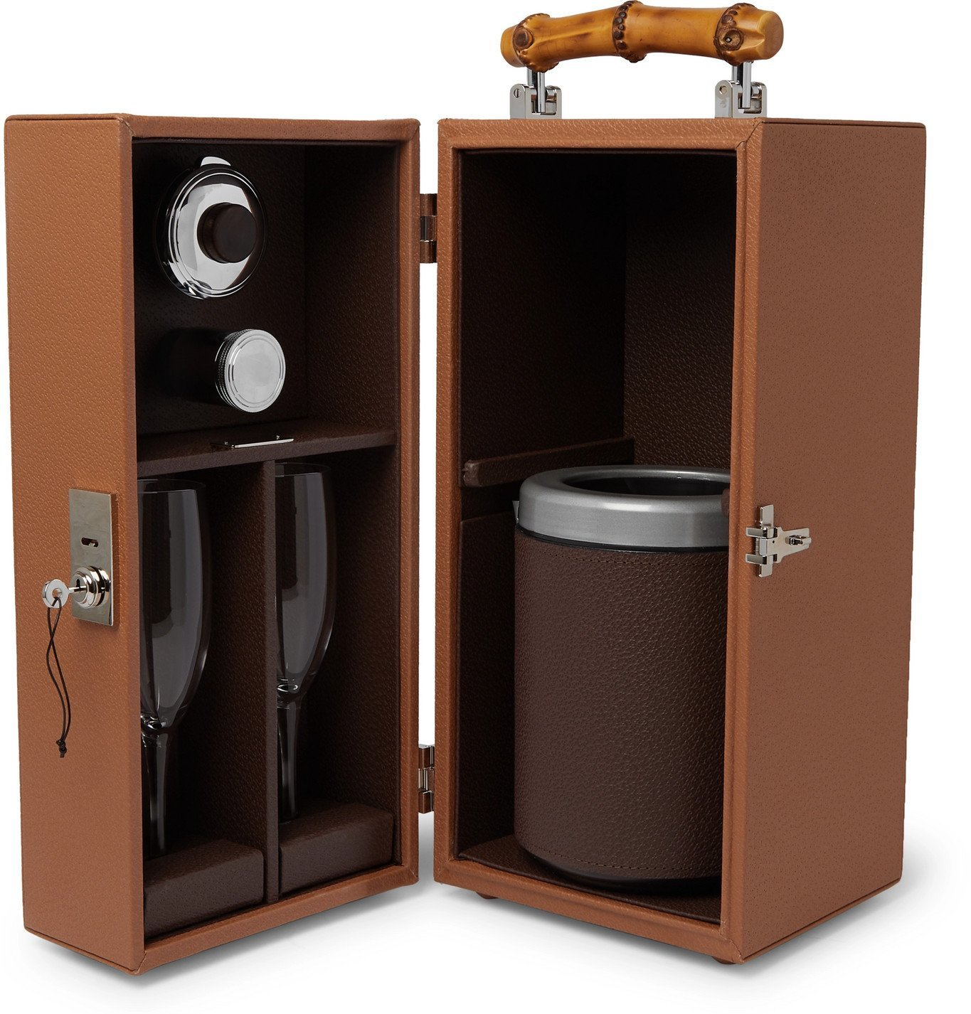 Photo: Lorenzi Milano - Full-Grain Leather and Bamboo Travel Champagne Cabinet - Brown