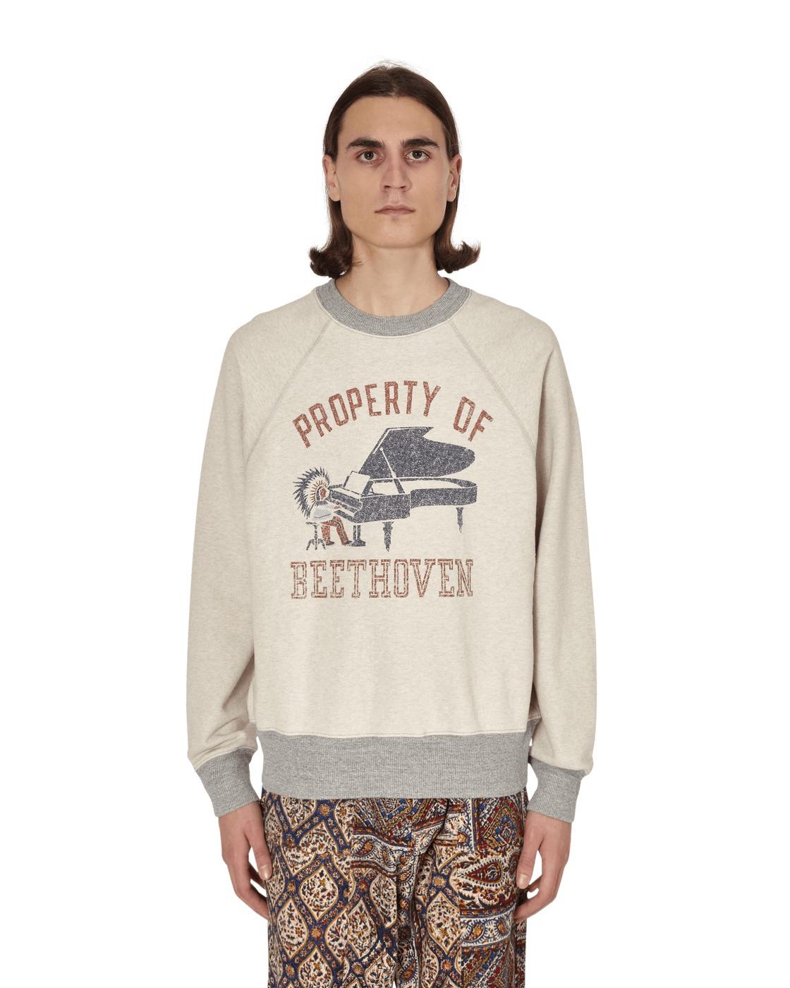 Kapital Property Of Beethoven Crewneck Sweatshirt Ecru