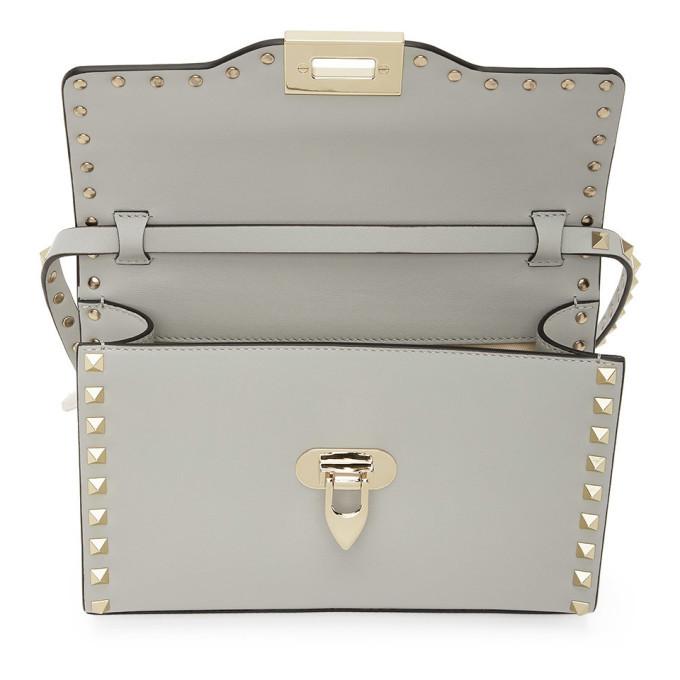 Valentino Grey Valentino Garavani Small Rockstud Shoulder Bag