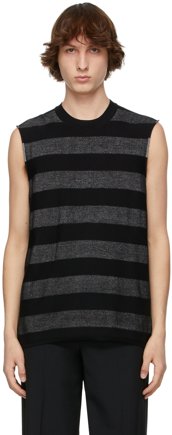 Photo: Comme des Garçons Homme Plus Black & Silver Horizontal Striped Sleeveless Sweater