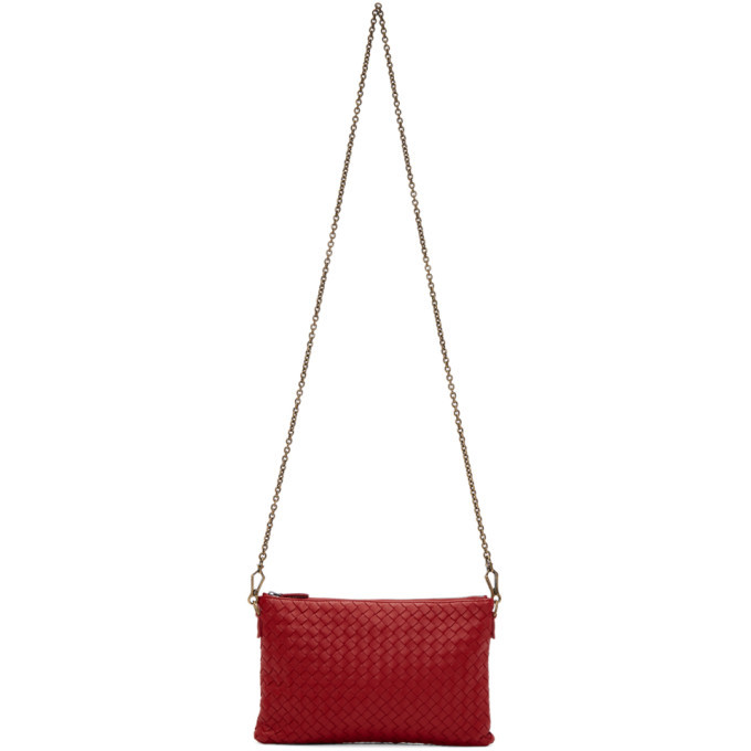 Bottega Veneta Red Intrecciato Pouch Bag