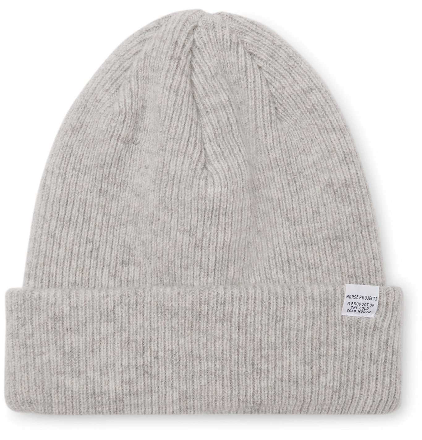 Photo: Norse Projects - Ribbed Mélange Merino Wool Beanie - Gray