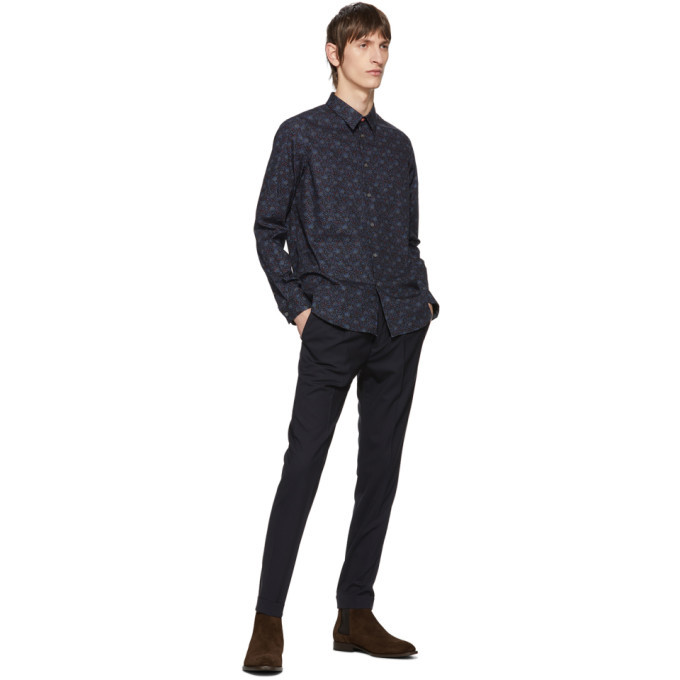 PS by Paul Smith Navy Turn Up Pleated Trousers