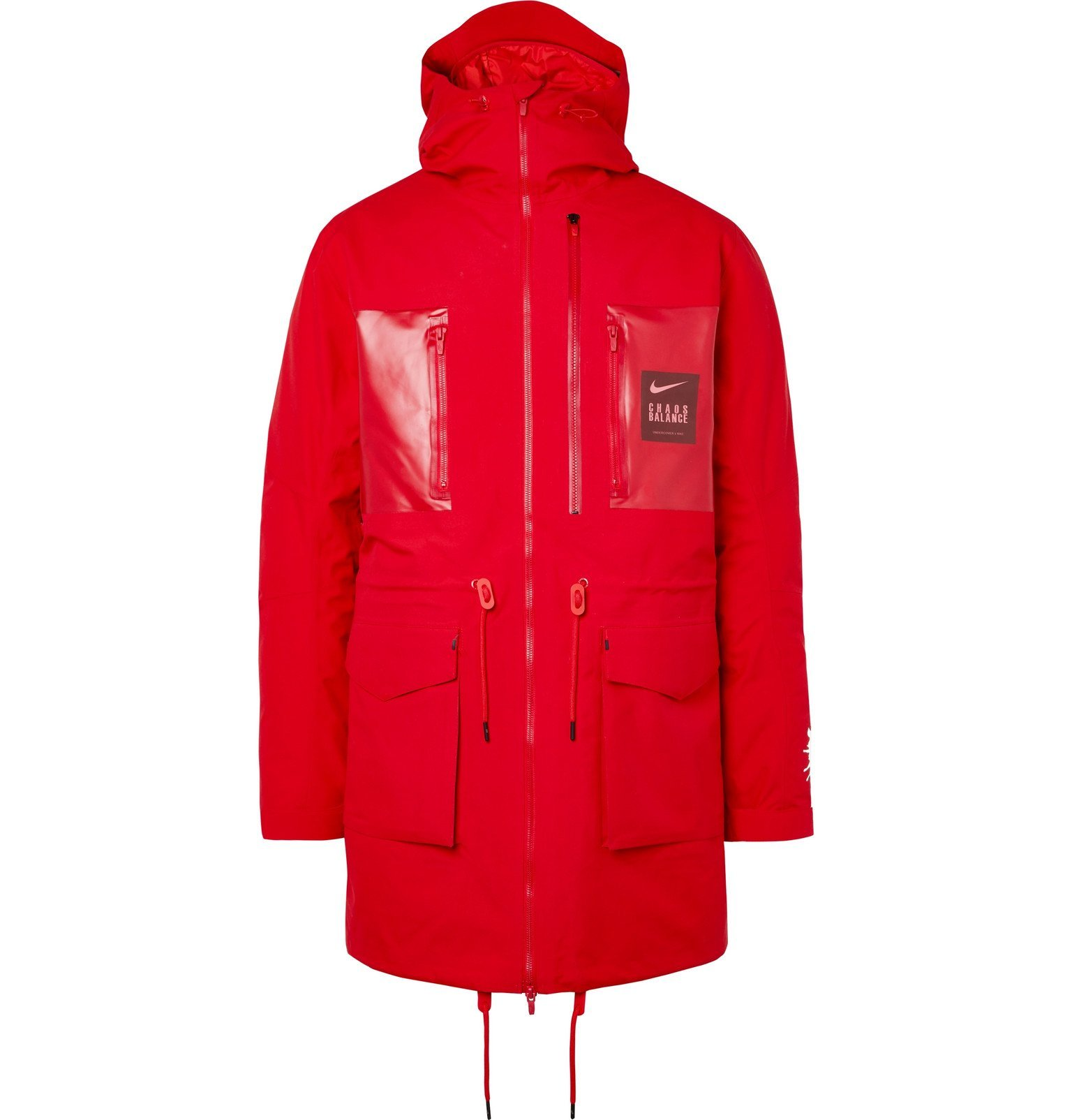 Photo: Nike - Undercover Logo-Print Coated-Twill Parka With Detachable Quilted Down Liner - Red