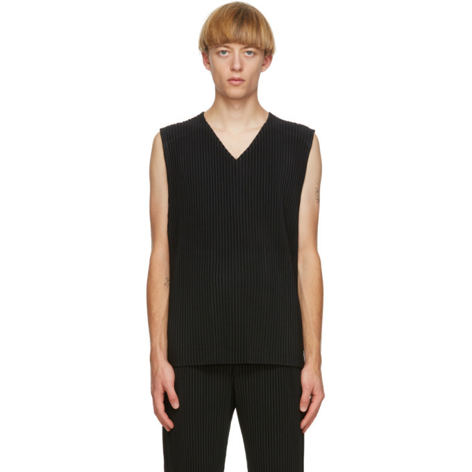 Photo: Homme Plisse Issey Miyake Black Colorful Pleats Tank Top
