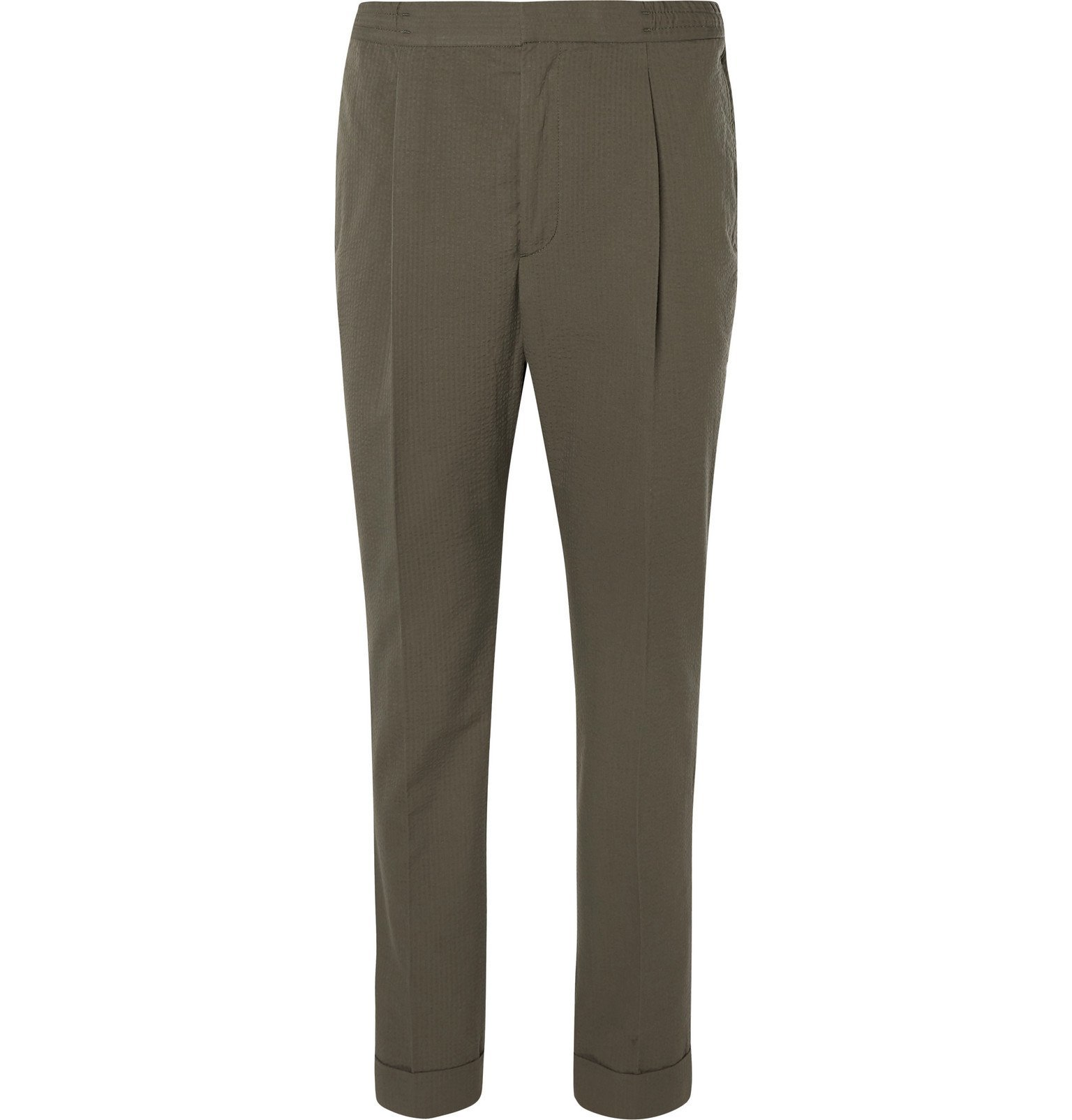 Photo: Officine Generale - Drew Tapered Pleated Cotton-Seersucker Suit Trousers - Green