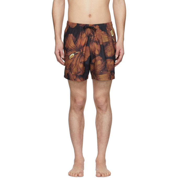 Photo: Dries Van Noten Black and Orange Phibbs Floral Swim Shorts