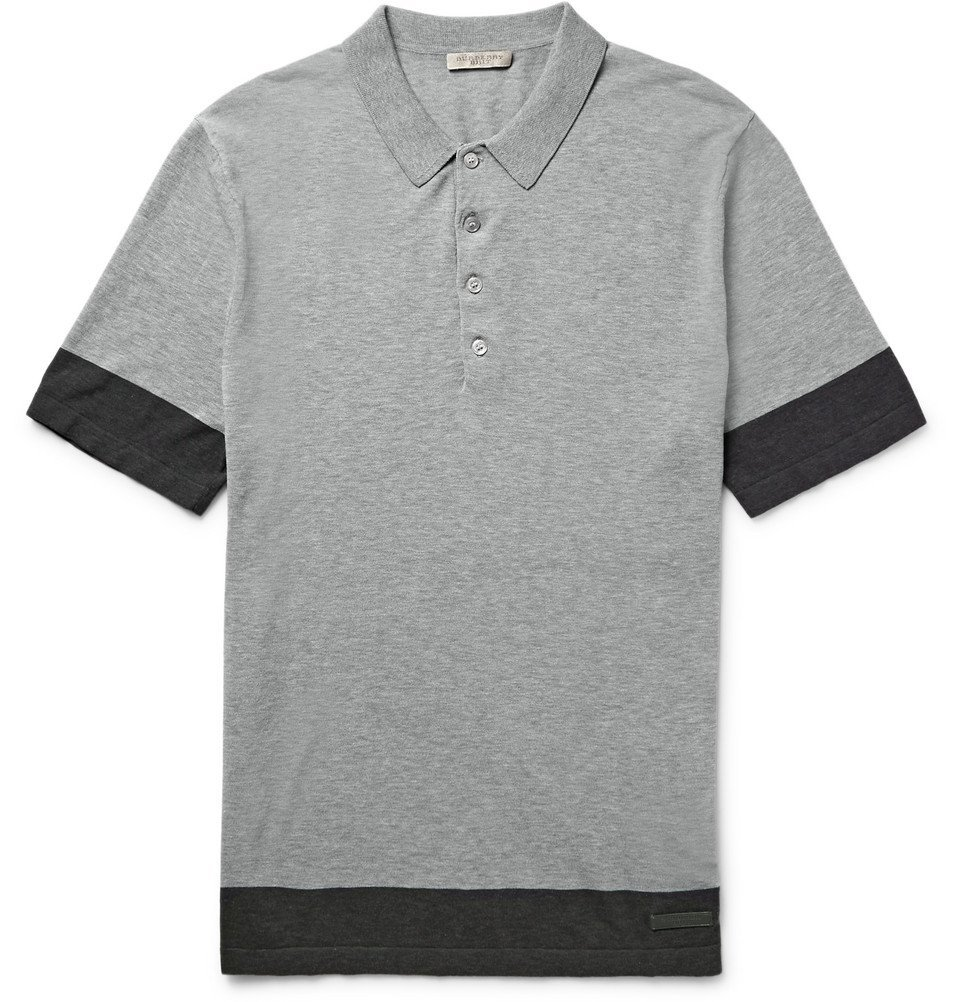 Photo: Burberry - Brit Slim-Fit Knitted Cotton Polo Shirt - Gray