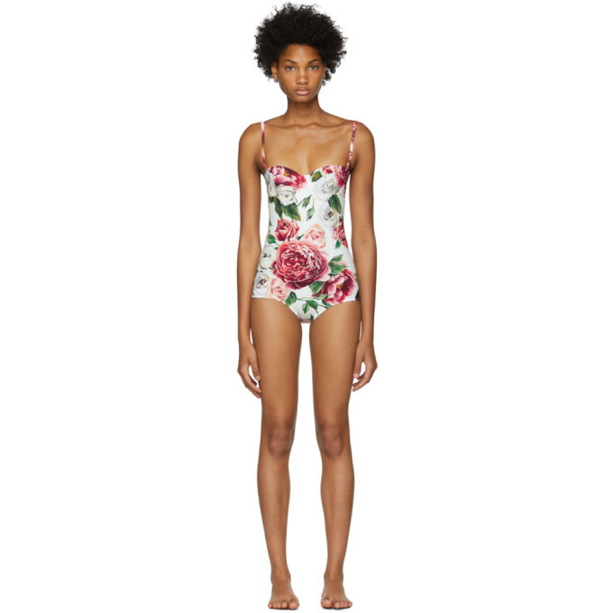 Photo: Dolce and Gabbana White Peonies Bustier Swimsuit