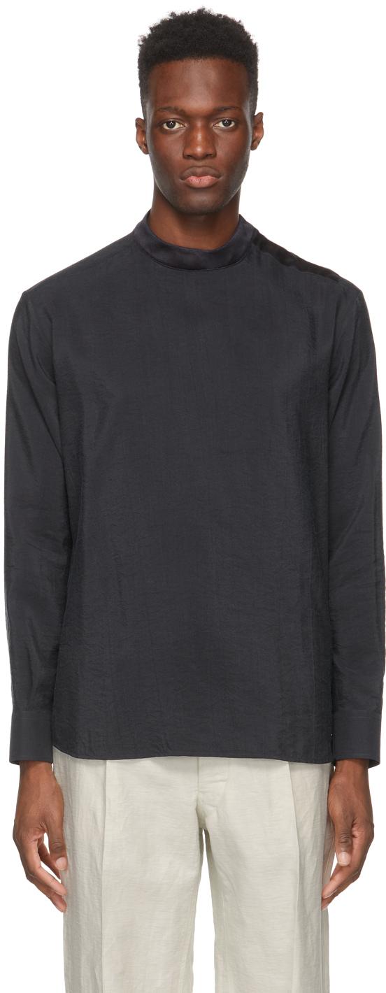 Giorgio Armani Black Silk Whipcord Shirt
