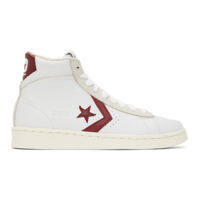 Photo: Converse White and Red Pro Leather OG High Sneakers