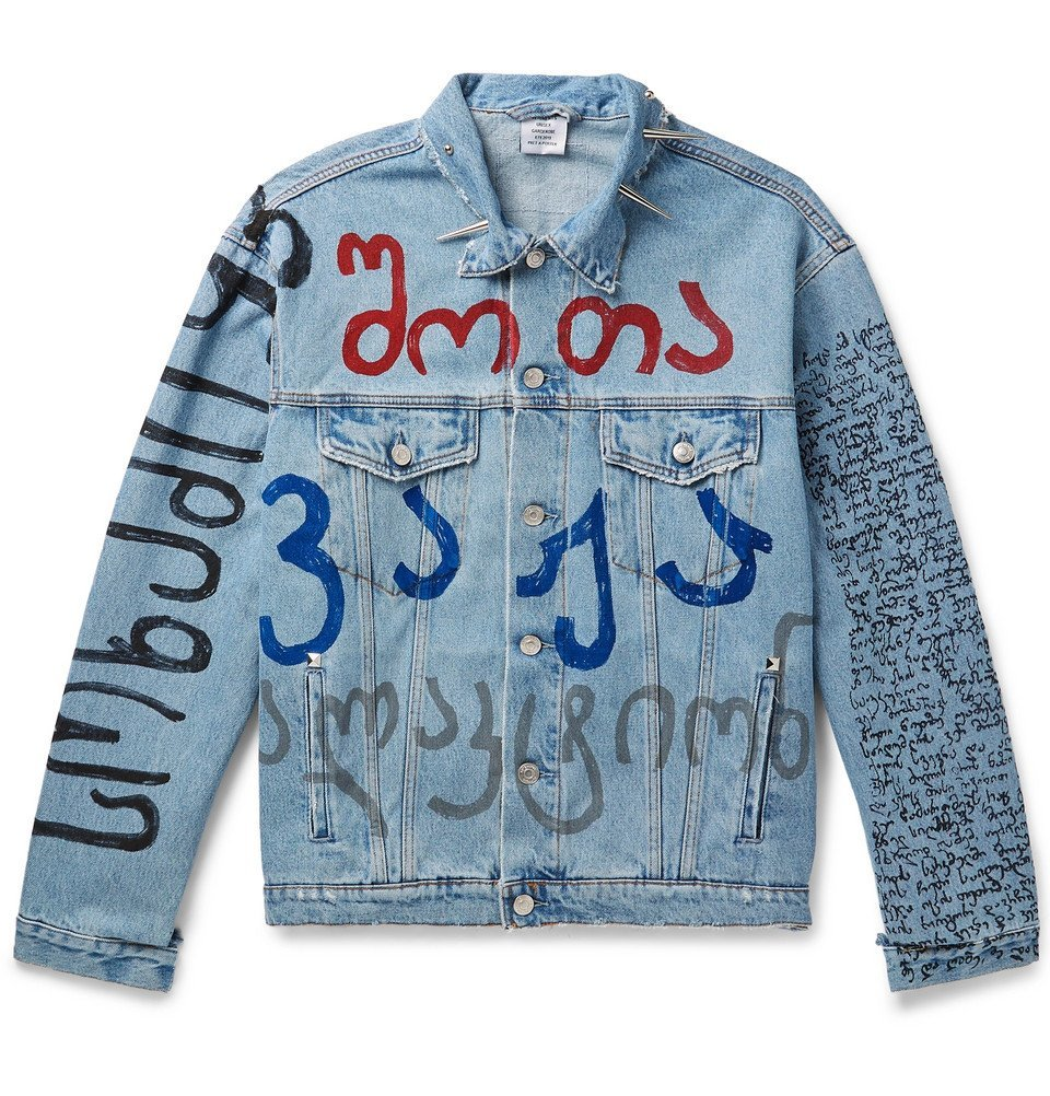 Photo: Vetements - Oversized Embellished Printed Denim Jacket - Light blue