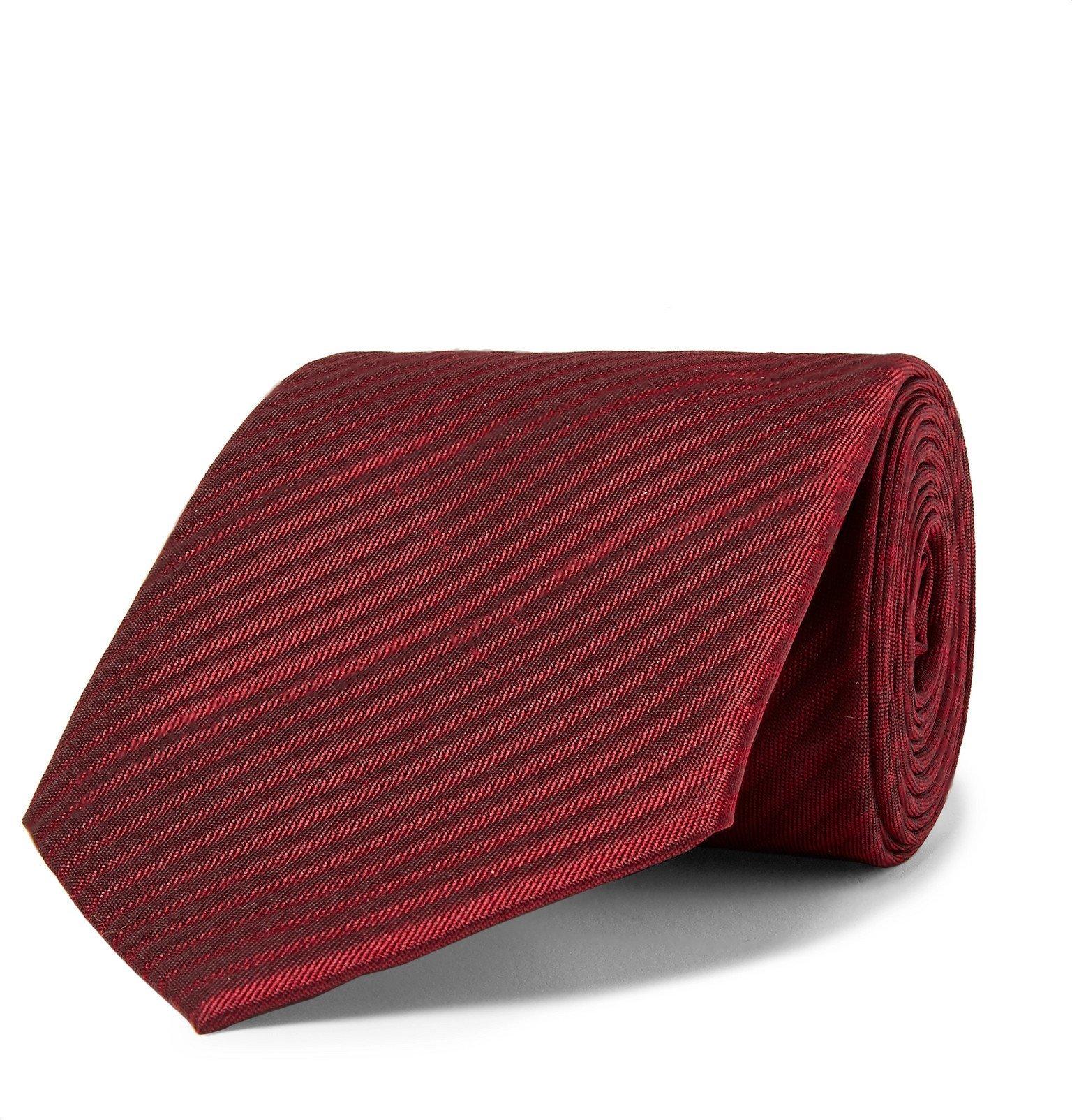 Photo: Giorgio Armani - 8cm Striped Silk-Jacquard Tie - Red