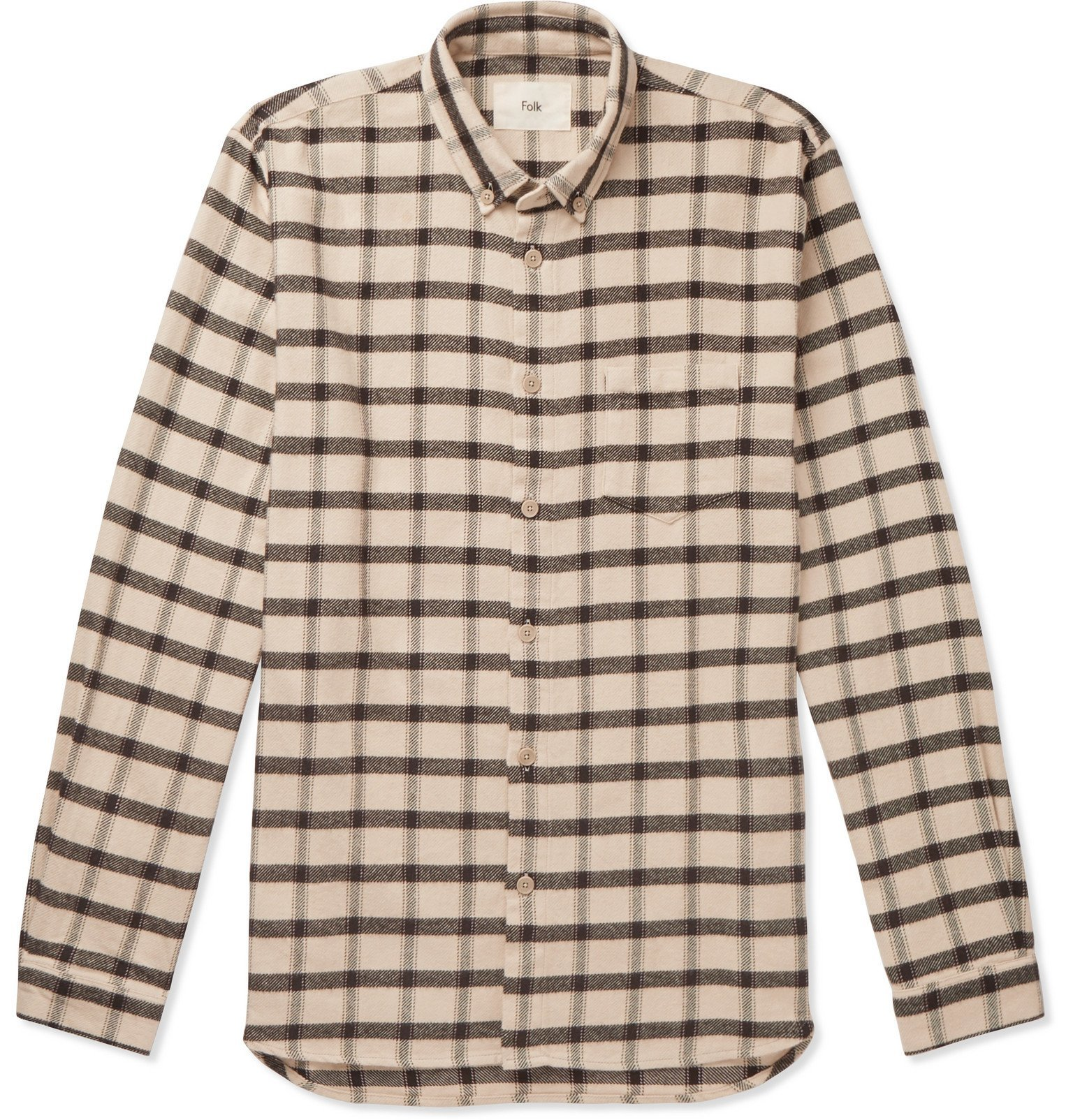 Photo: Folk - Button-Down Collar Checked Cotton-Flannel Shirt - Neutrals