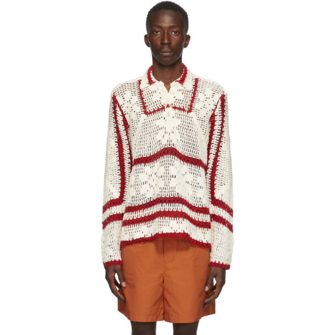 Photo: Bode White and Red Crochet Pullover Sweater