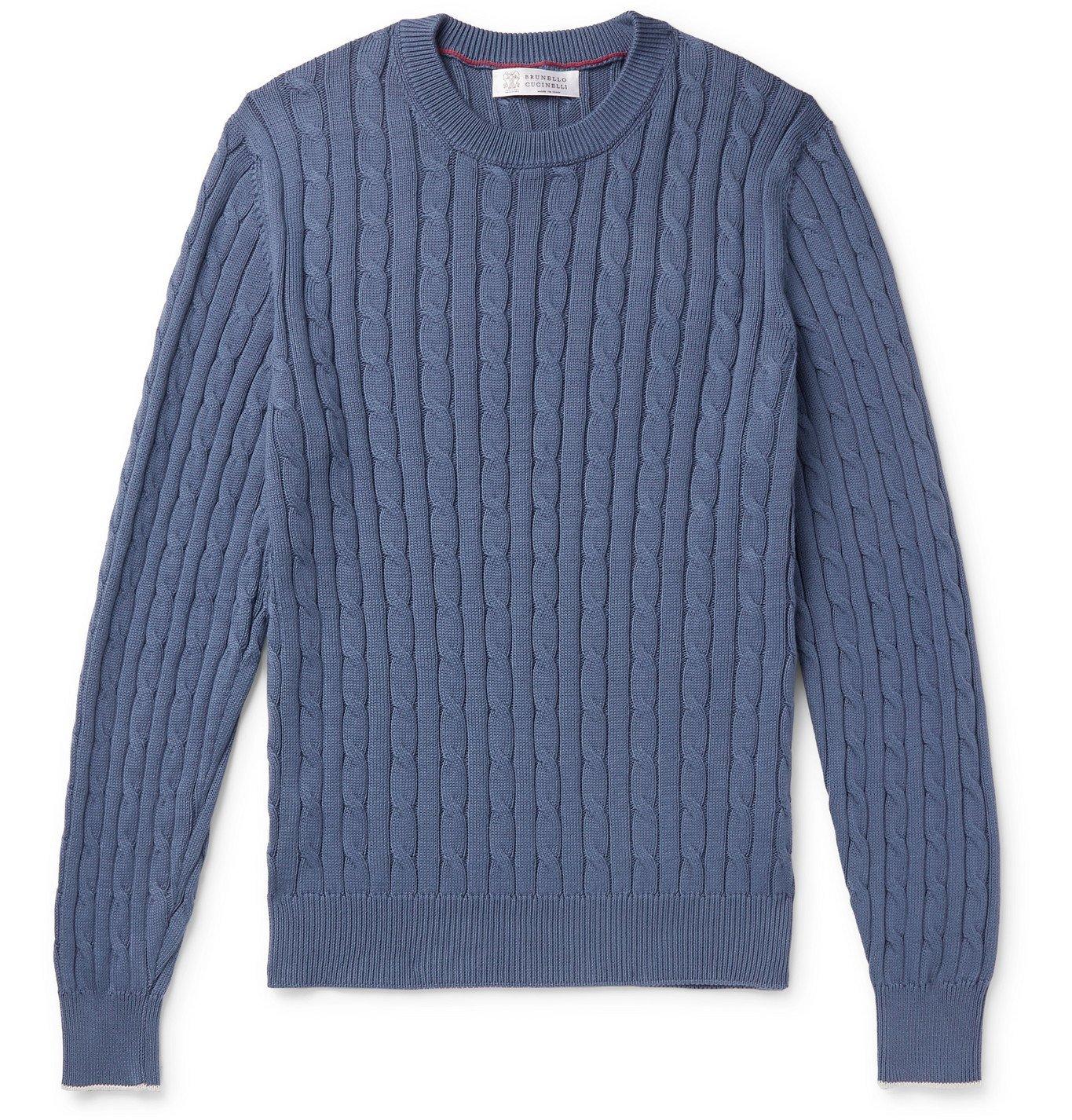 Photo: Brunello Cucinelli - Slim-Fit Cable-Knit Cotton Sweater - Blue