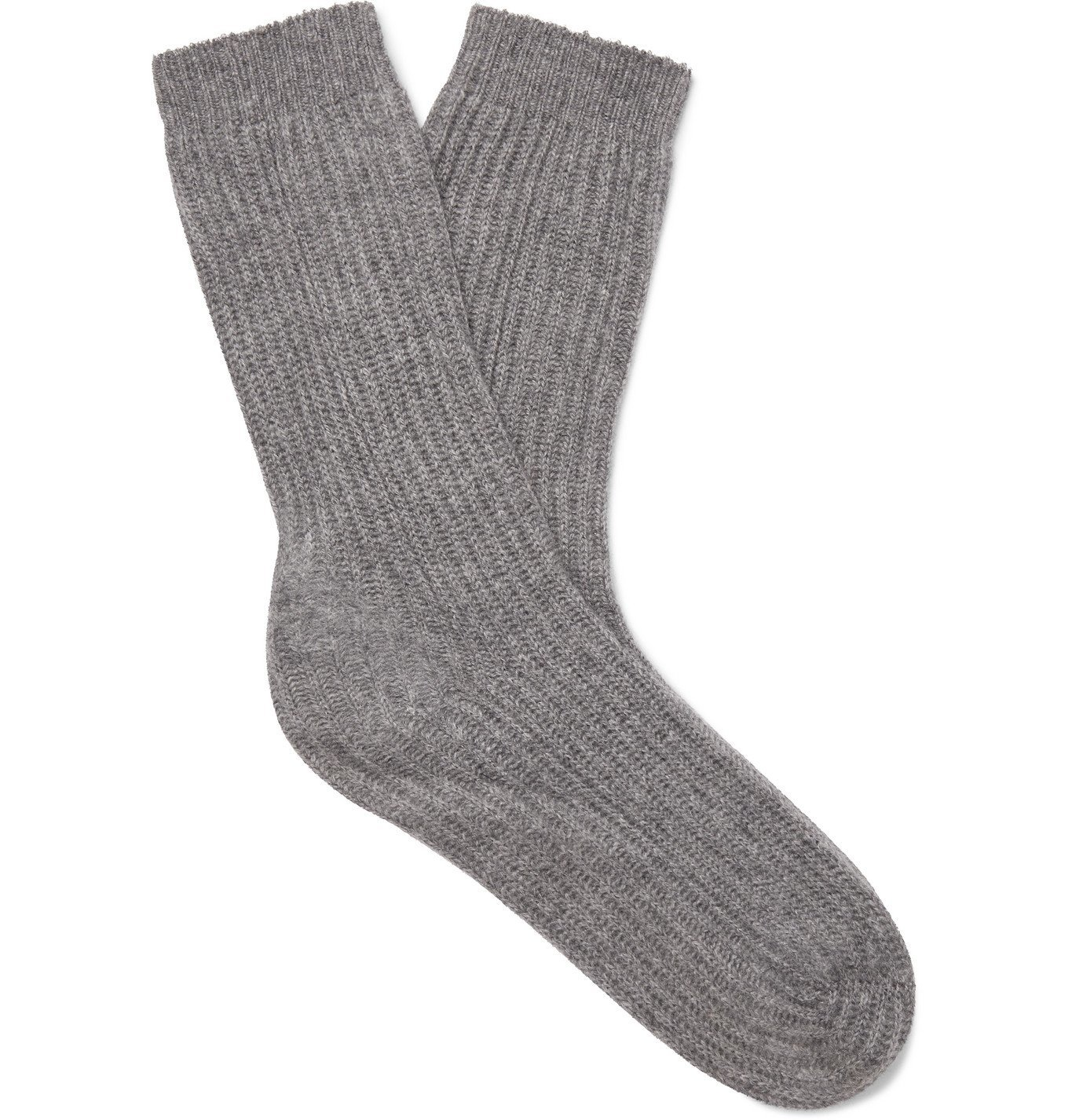 Photo: Mr P. - Ribbed Cashmere Socks - Gray