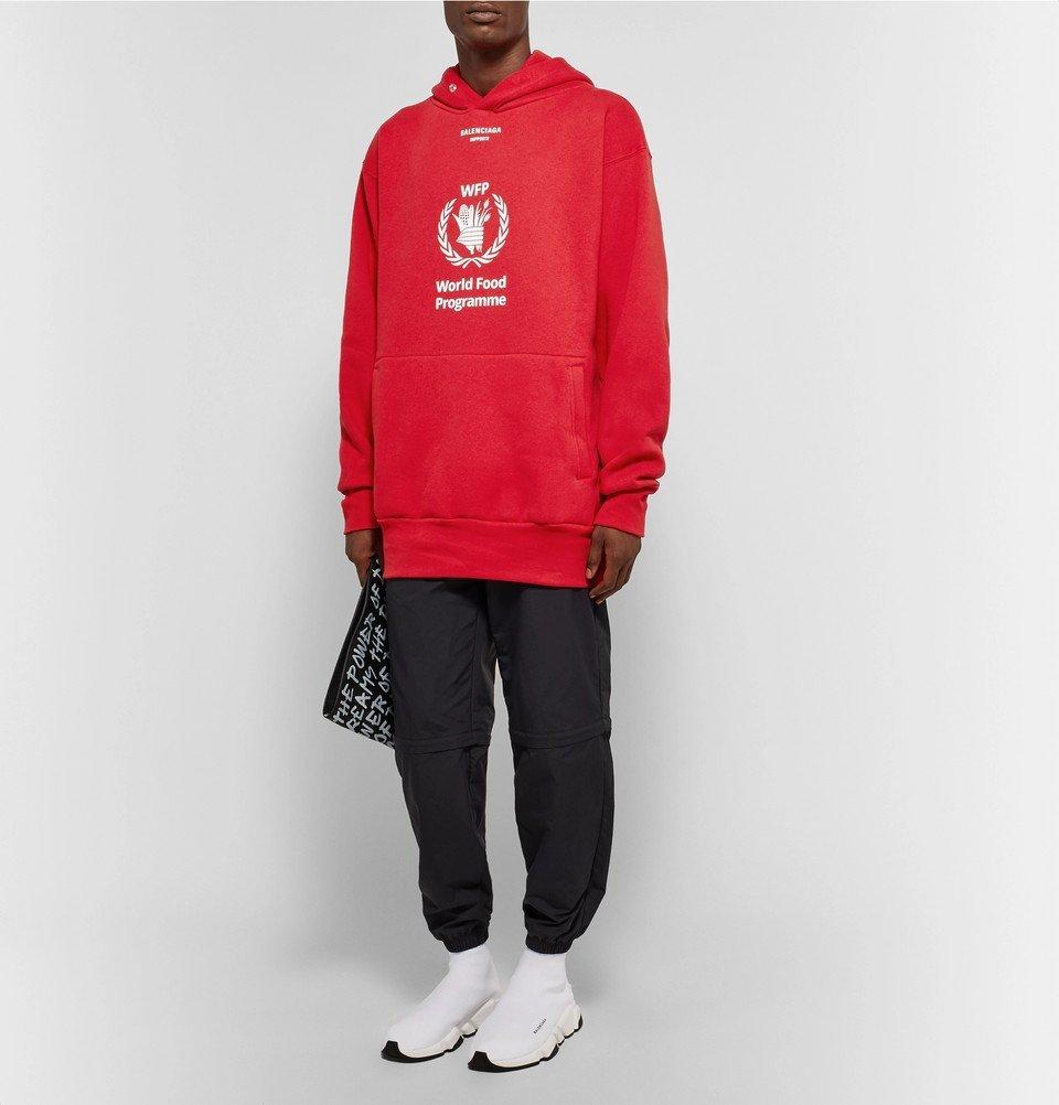 Balenciaga The World Food Programme Logo Print Cotton Blend Hoodie Men Red Balenciaga