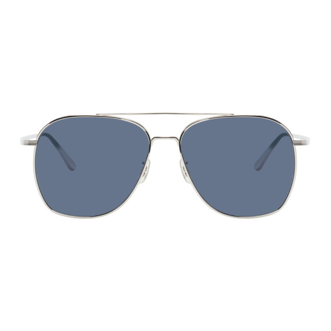 Photo: The Row Silver and Blue Ellerston Sunglasses