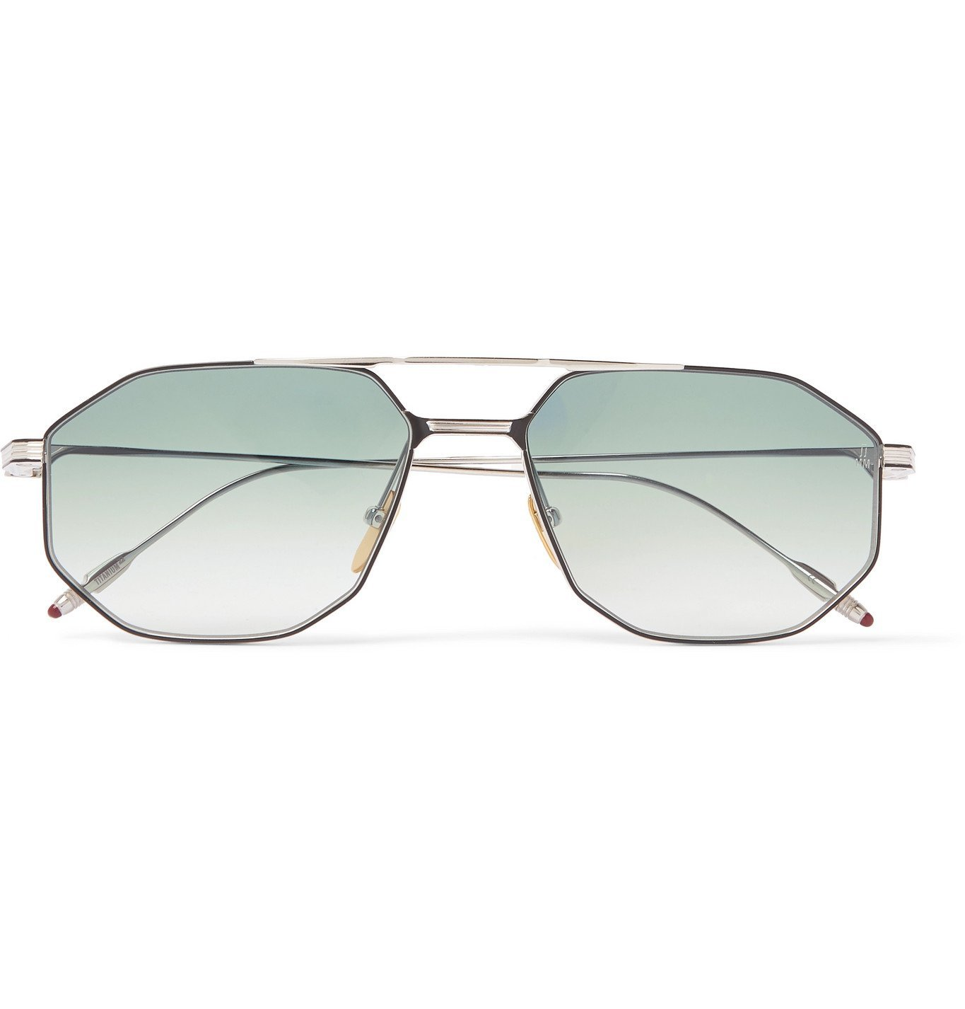 Photo: Jacques Marie Mage - Bandit Aviator-Style Titanium Sunglasses - Blue
