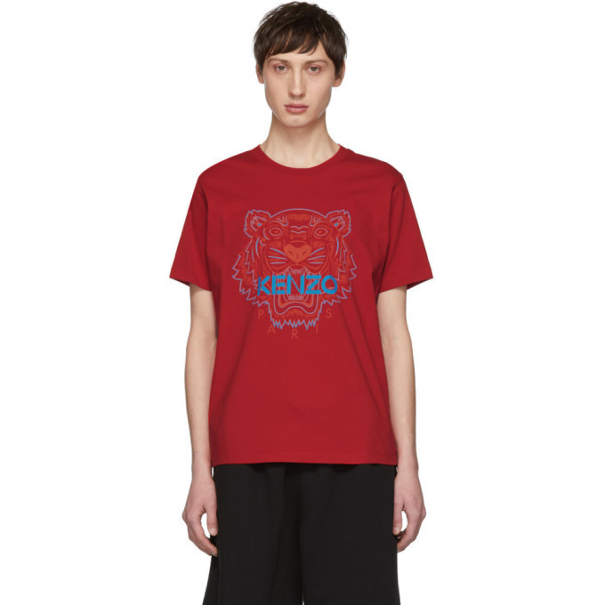 Photo: Kenzo Red Two-Tone Tiger T-Shirt