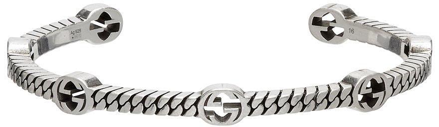Photo: Gucci Silver Thin Interlocking G Cuff Bracelet