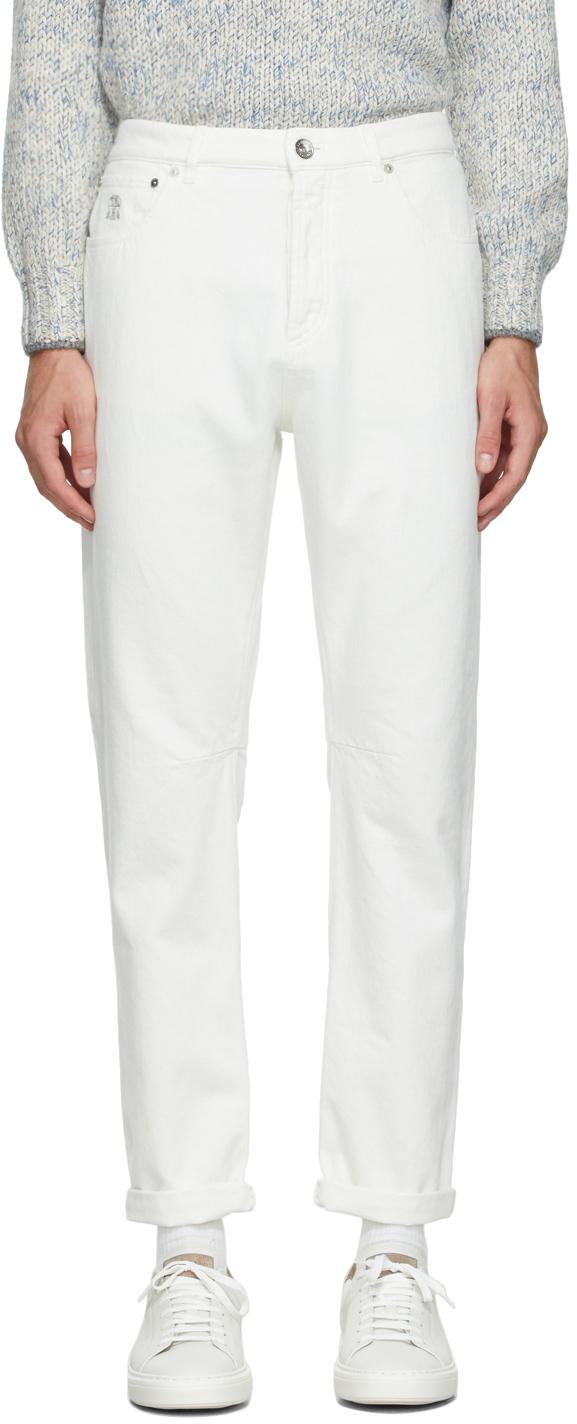 Photo: Brunello Cucinelli Off-White Denim Logo Jeans