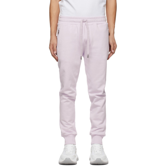 Photo: Dolce and Gabbana Purple Brand Plate Jogging Lounge Pants