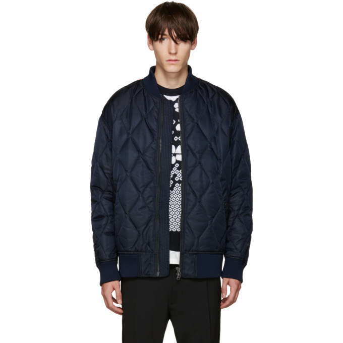 Photo: Diesel Black Gold Navy Nylon Quilted Bomber Jacket