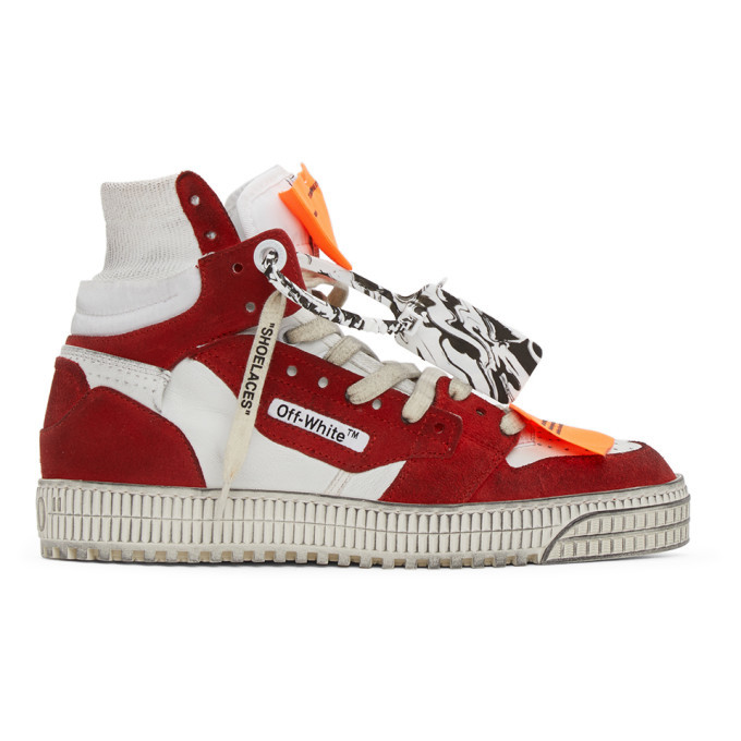 Photo: Off-White White and Red Off Court 3.0 High-Top Sneakers
