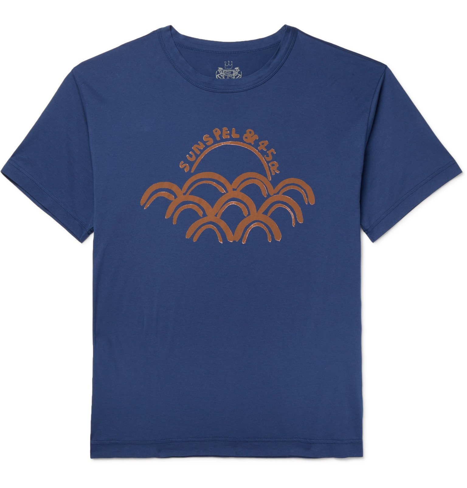 Photo: Sunspel - 45R Logo-Print Cotton-Jersey T-Shirt - Blue