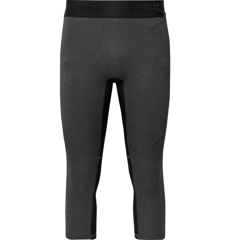 Photo: Adidas Sport - Alphaskin Cropped Mesh-Panelled Climacool Tights - Gray