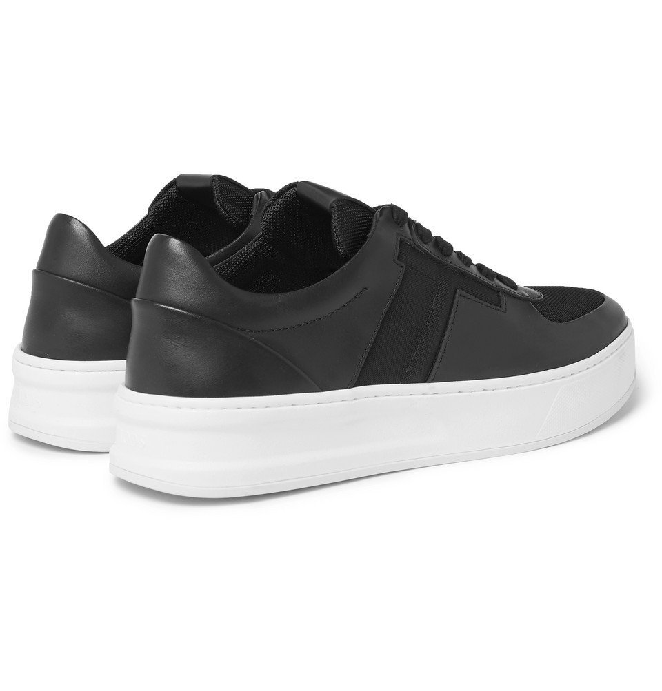 Tod's - Cassetta Leather and Mesh Sneakers - Black