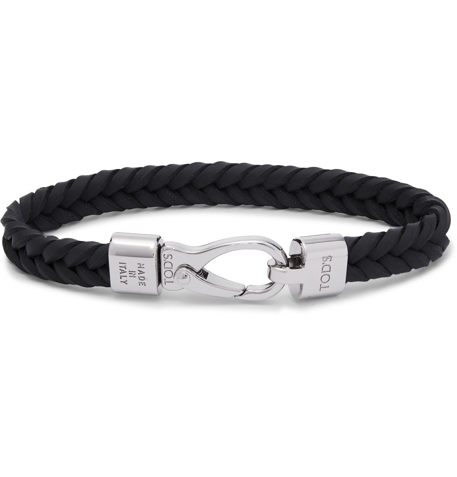Photo: Tod's - Woven Leather and Silver-Tone Bracelet - Blue