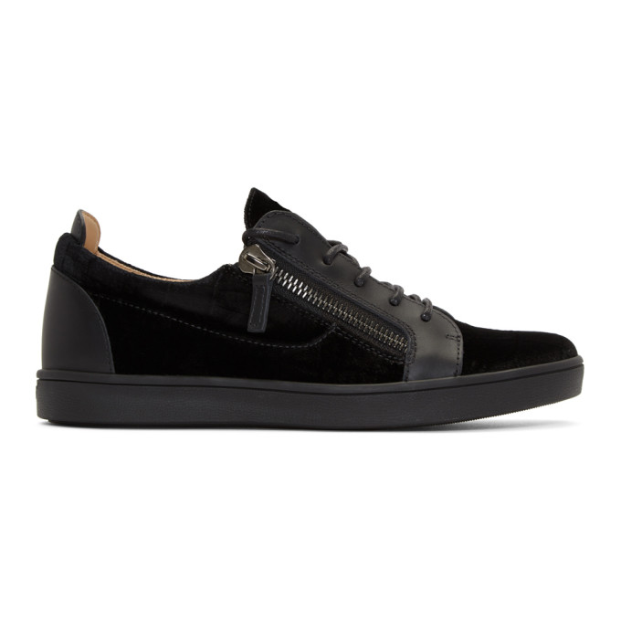 Photo: Giuseppe Zanotti Black Croc Velvet Brek Sneakers