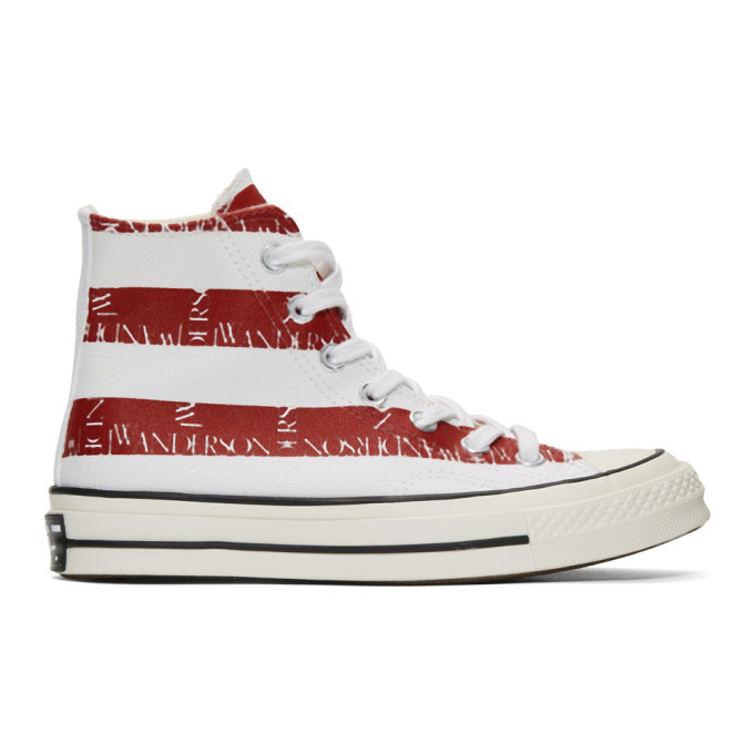 Photo: JW Anderson Indigo and Red Converse Edition Grid Logo Chuck 70 Hi Archive Print Sneakers