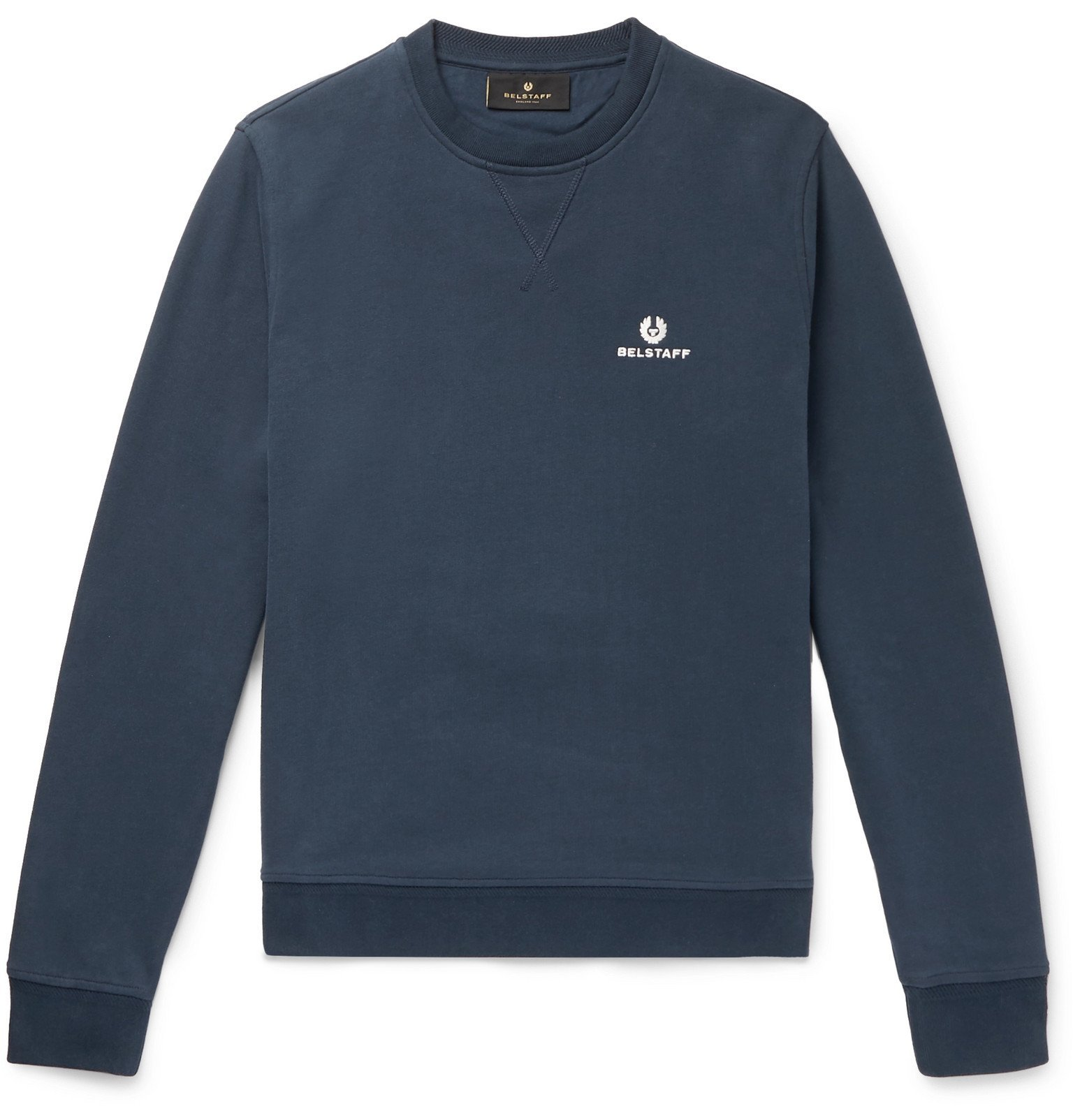 Photo: Belstaff - Logo-Embroidered Loopback Cotton-Jersey Sweatshirt - Blue