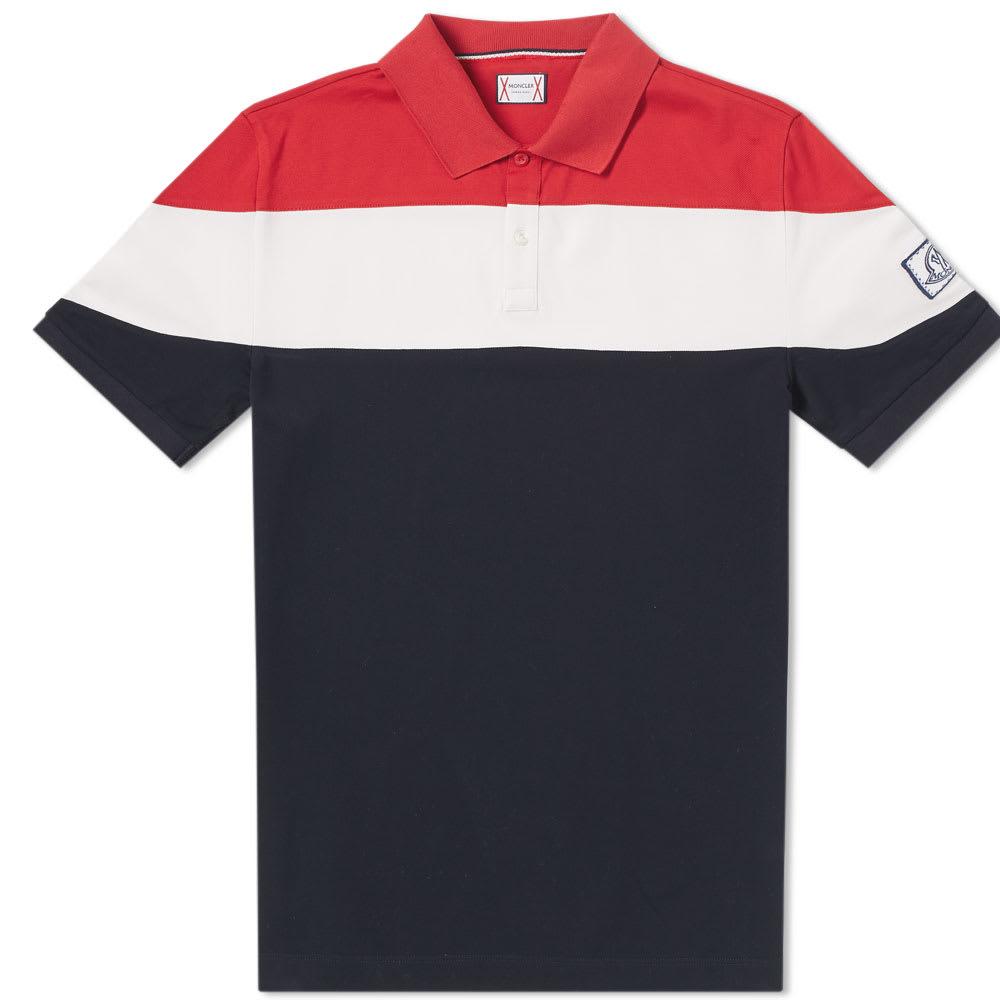 Moncler Gamme Bleu Tricolour Stripe Polo